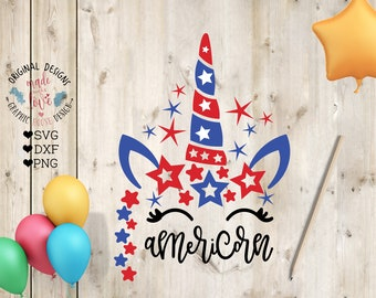 Unicorn 4th of July SVG, Americorn svg, America Unicorn Cut File in SVG, DXF, png, Independence Day svg, Kids Patriotic svg, Cricut, Cameo