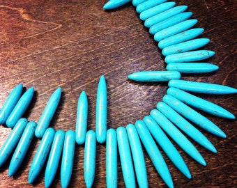 Dyed Blue Turquoise Howlite Spike Beads (16X) (NS811)