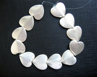 2 Pcs Indian Handmade 925 Sterling Silver Brushed Texture Heart Beads