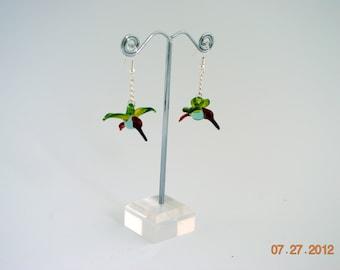 Glass Hummingbird Earrings
