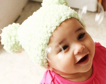 12 to 24m Green Pom Pom Hat Crochet Baby Hat Lime Green Double Pom Pom Beanie Baby Girl Boy Hat Unisex Toddler Prop Christmas Baby Gift