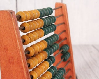 Wooden abacus -Vintage wooden abacus - Wooden counting with wooden beads - Analog calculator -  French stand abacus - School abacus