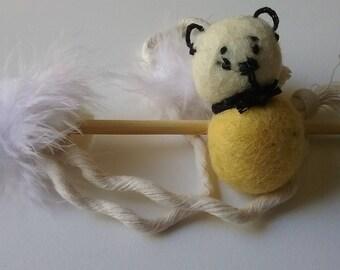 Super Cute Wool Ball Bear and Teaser Cat Toy. ( No catnip)