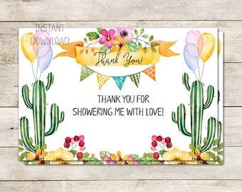 Fiesta Thank You Card, Bridal Shower Thank You, Cactus Thank You Card, Muchas Gracias, Fiesta Invitation, 4X6 inch, Printable No. 1036