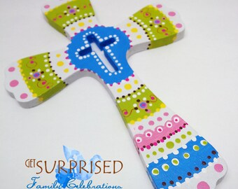 HANDPAINTED WALL CROSS, Blue/Green decorative wooden hanging cross. baby crib room decoration. Communion favor, wedding gift, home blessing.