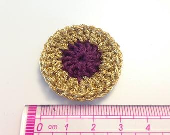 Plum and gold rosette crochet flower