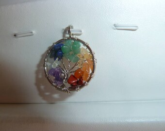 TREE of life pendant 7 chakra genuine gems
