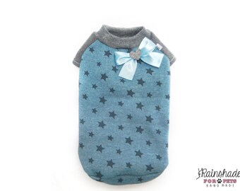 Brushed fleece blue star for dogs Tg XS-S-M-L Pets clothes. Chihuahua, poodle, yorkie, maltese