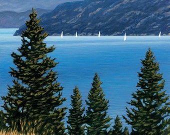 "LANDSCAPE ART PRINT - ""An Okanagan Sail"", Limited Edition Giclee Print on Fine Art Paper of Western Canada Landscape."
