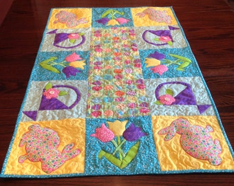 Handmade Easter table runner with Easter bunny, basket and tulips