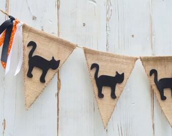 5 Pennant Black Cat Burlap Banner, Flag, Bunting, Pennant..Fall Halloween Decoration...Photo Prop