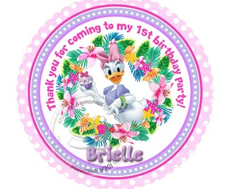 "Custom Stickers- Daisy Duck 2.5"" STICKERS-Purple-Pink Disney Thank you 2.5"" Stickers"