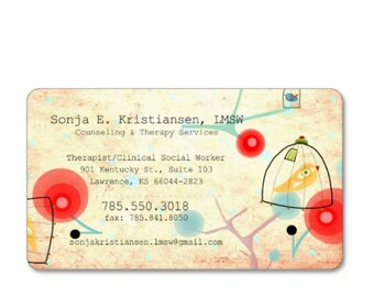 Business cards - Rupydetequila Art - Cage Bird Whimsical Poppies / Colorful Tree