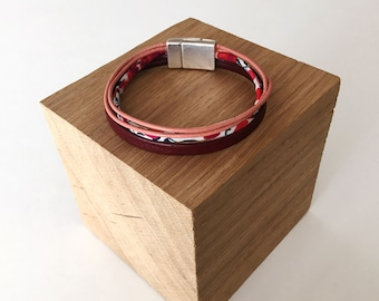 Bracelet leather, liberty and magnetic Burgundy & pink / / Peter Pan