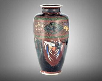 """Japan cloisonne vase phoenix & dragon decoration 7"""""""