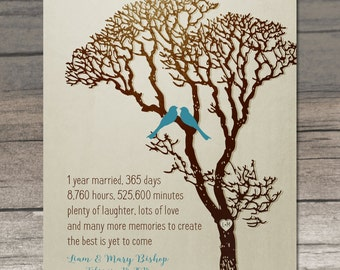 1 Year Anniversary Personalized Gift 1st Anniversary Gift for Wife Paper Anniversary Custom Art Print Hours Days Family Tree Love Birds