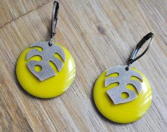 Lemon yellow tropical coin earrings