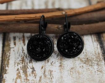 Black Lever-Back Earrings - Black Earrings - Druzy Earrings - Sparkly Earrings - 12mm  - Gift for Friend - Jewelry Gift - Drusy - Faux Druzy
