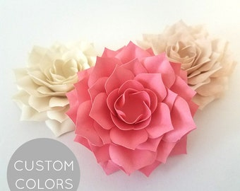 ROMANTIC PAPERBLOOMS: Loose Paper Flowers | paper Roses | Table Decorations | Paper Flower Wedding | Box Toppers