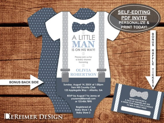 Little Man Baby Shower Invitation Onesie Invitation Bow Tie