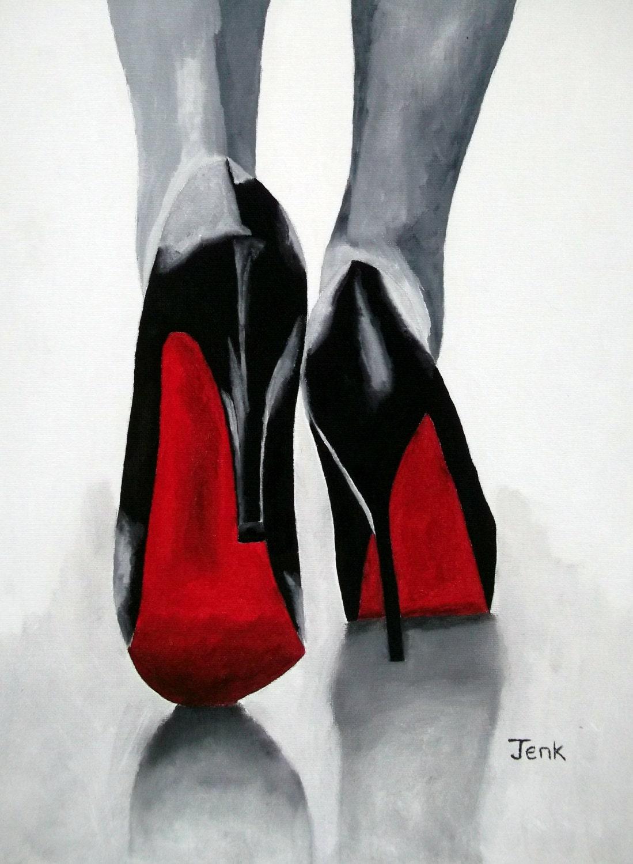 Christian Louboutin Black Shoes Art Print Fashion Gifts Wall