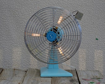 Retro recycled electic fan lamp.  Stuning old skool Blue.  Triple edison bulb lamp.