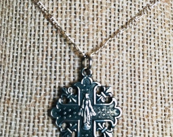 Sterling Silver Fleur Marian Necklace, Catholic Jewelry, Christian Jewelry