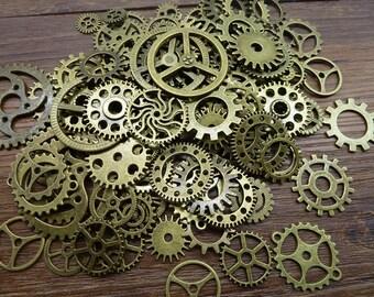 BULK 100 Mixed Bronze Steampunk Gear Charms Clockwork Cog Wheel Gearwheel Mechanical Watch Gear Clock Parts Decoration