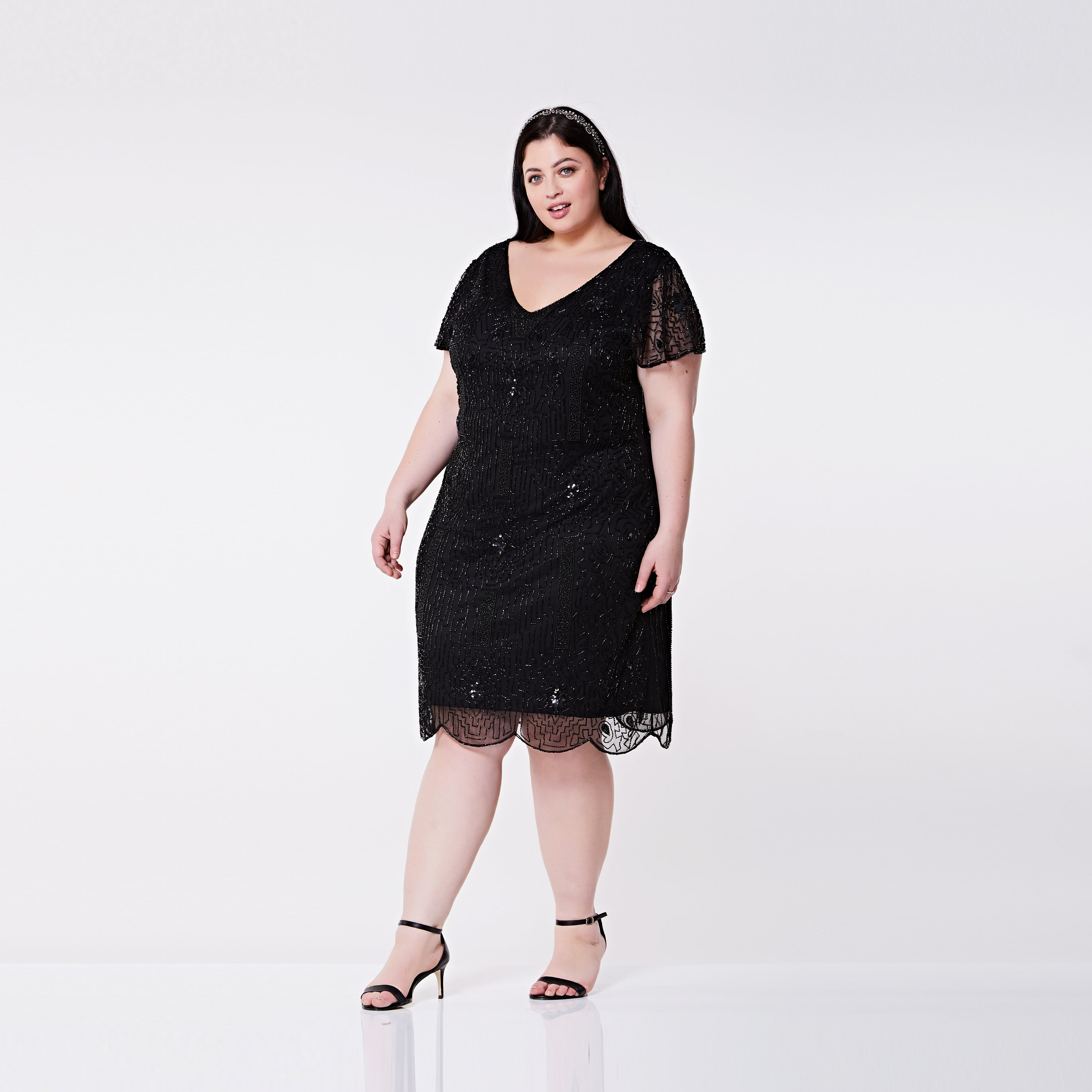 Plus size Downton Abbey Black Flapper dress with sleeves Vintage ...