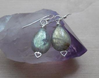 Sterling Silver Labradorite Earrings, Labradorite Teardrop Earrings, Crystal Gemstone Earrings, Gold Green Labradorite, Bohemian Jewelry