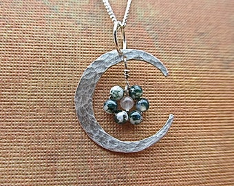 sterling silver crescent pendant with moss agate and quartz beads