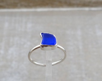 Cobalt Blue Sea Glass Ring set in Sterling Silver size 6.75