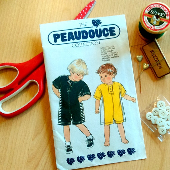 Vintage sewing pattern, Peaudouce baby onesie pattern, Toddler all ...