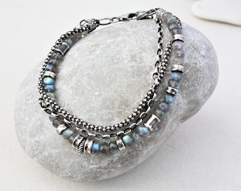 Oxidized sterling silver and labradorite bracelet, multistrand bracelet, multi chain bracelet, oxidized silver bracelet, artisan jewelry