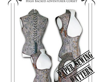 "Steampunk ""Asylum"" Corset Sewing Pattern High Back Small (HBCS)"