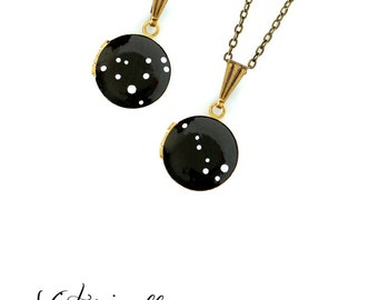 Custom Zodiac Constellation Necklace on Vintage Tiny Locket - Hand Painted - Personalized, Birthday Star Sign, Brass, Bridesmaid Gift