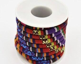 Ethnic bead, multicolored woven cotton, 6, 5 mm sold per 1 M