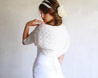Ivory White Shrug Bridal Bolero Wedding Knit Shrug Bridal Cover Up Evening Shrug Bridal Sweater Shrug Off White Shrug Bridal Wrap Shrug