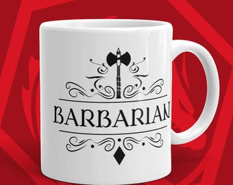 DnD Mug Dungeons and Dragons Gift Barbarian Character Class D&D Mugs - Tabletop RPG Nerdy White Ceramic Mug