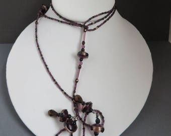 Glass Flapper Necklace, Vintage Purple, Bronze Beaded Long Necklace, Gift for Her