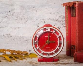 Alarm Clock Jantar red vintage clock round table clock retro home decor soviet clock mechanical rustic Christmas decor red gift Christmas