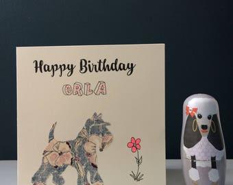 Custom 'Happy Birthday' greeting card made with a hand cut Liberty London art fabric dog silhouette