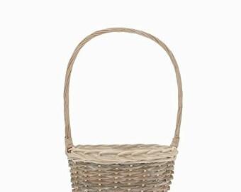 Oval Whitewash Wicker Basket