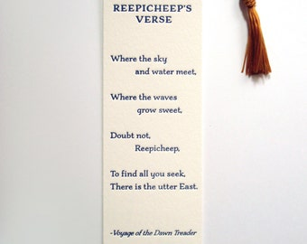 Letterpress Bookmark - Reepicheep's Verse