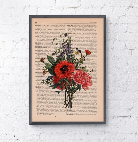 Wall decor Floral Bouquet Print Dictionary print flower on french book page wall decorative art Gift botanical BFL146