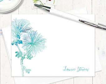 personalized flat note cards - watercolor SPIDER MUM FLOWER - set of 12 flat cards - botanical stationery - stationary - floral