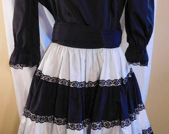 Square Dance Dress Co Black and White Satin Dancing Dress Swing Dress Rockabilly
