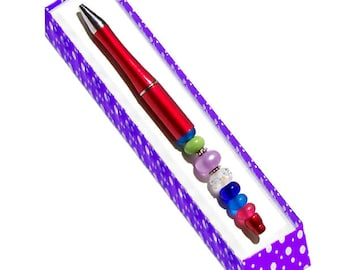 MERZIEs finished PEN Red add-a-bead lampwork glass etched beads U PICK refill - Made & SHIPs from USA
