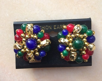 Vintage big statement clip on earrings 80s 90s