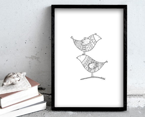 A4 Art Print Two Birds Pen Drawing Simple Black And White Illustration Scandinavian Home Decoration Wall Deco